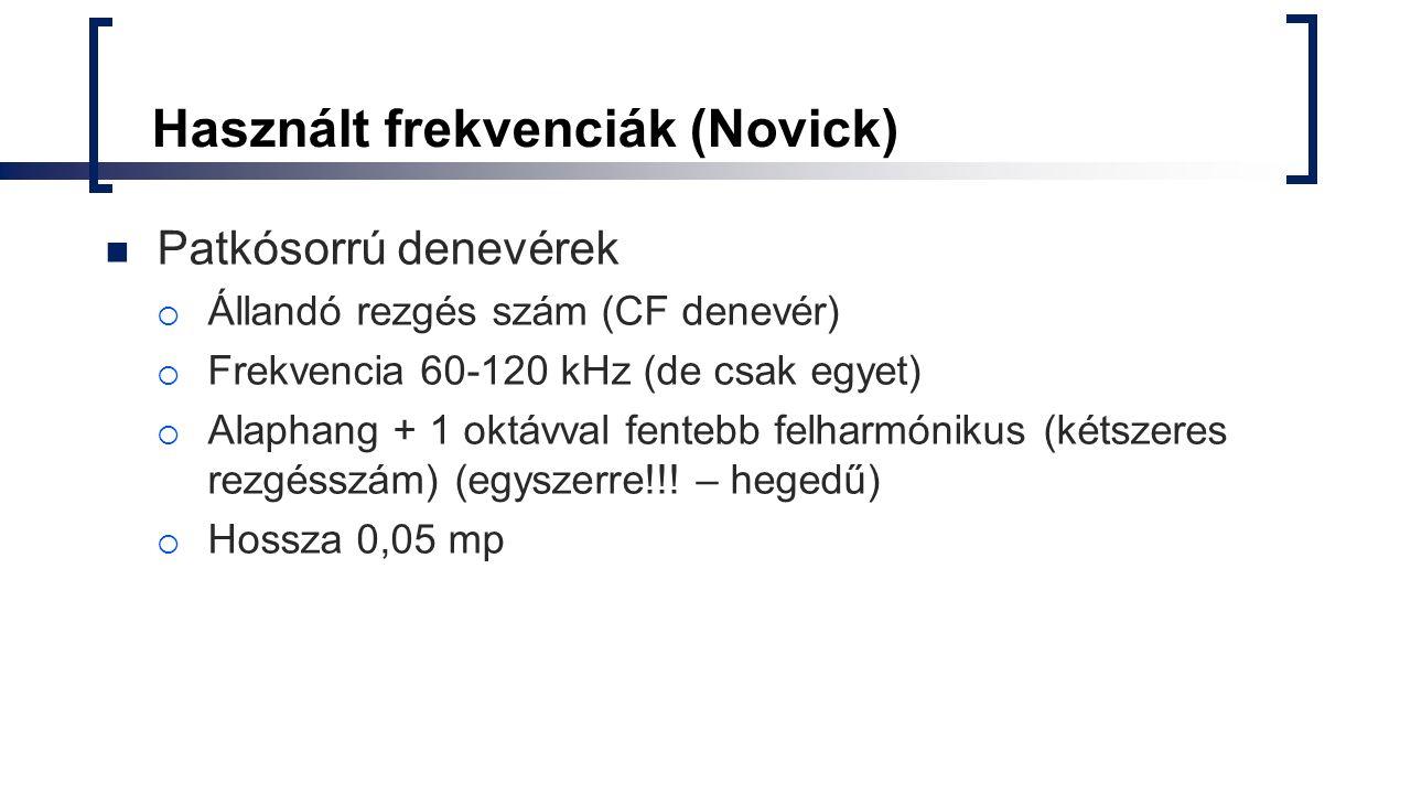 Használt frekvenciák (Novick)
