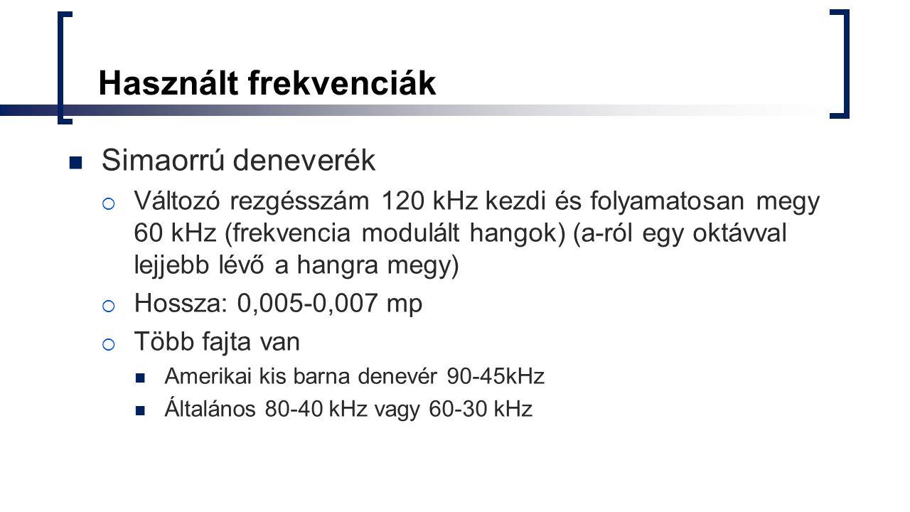 Használt frekvenciák Simaorrú deneverék