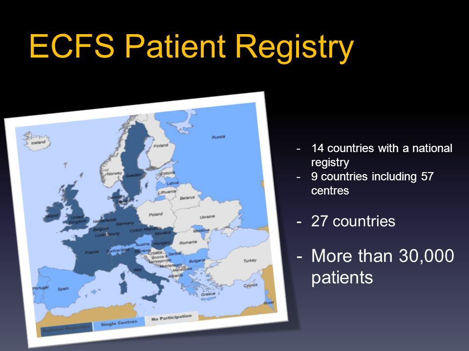 ECFS Patient Registry More than 30,000 patients 27 countries