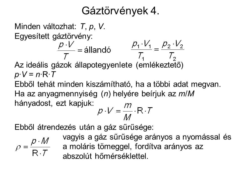 Gáztörvények 4. Minden változhat: T, p, V. Egyesített gáztörvény: