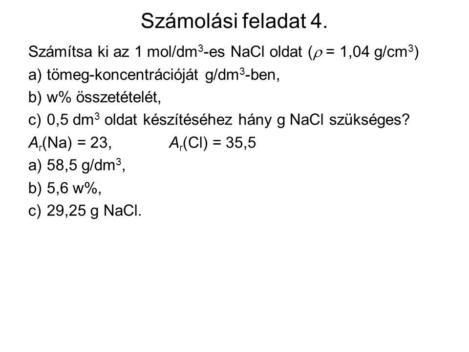 Számolási feladat 4. Számítsa ki az 1 mol/dm3-es NaCl oldat ( = 1,04 g/cm3) a) tömeg-koncentrációját g/dm3-ben,