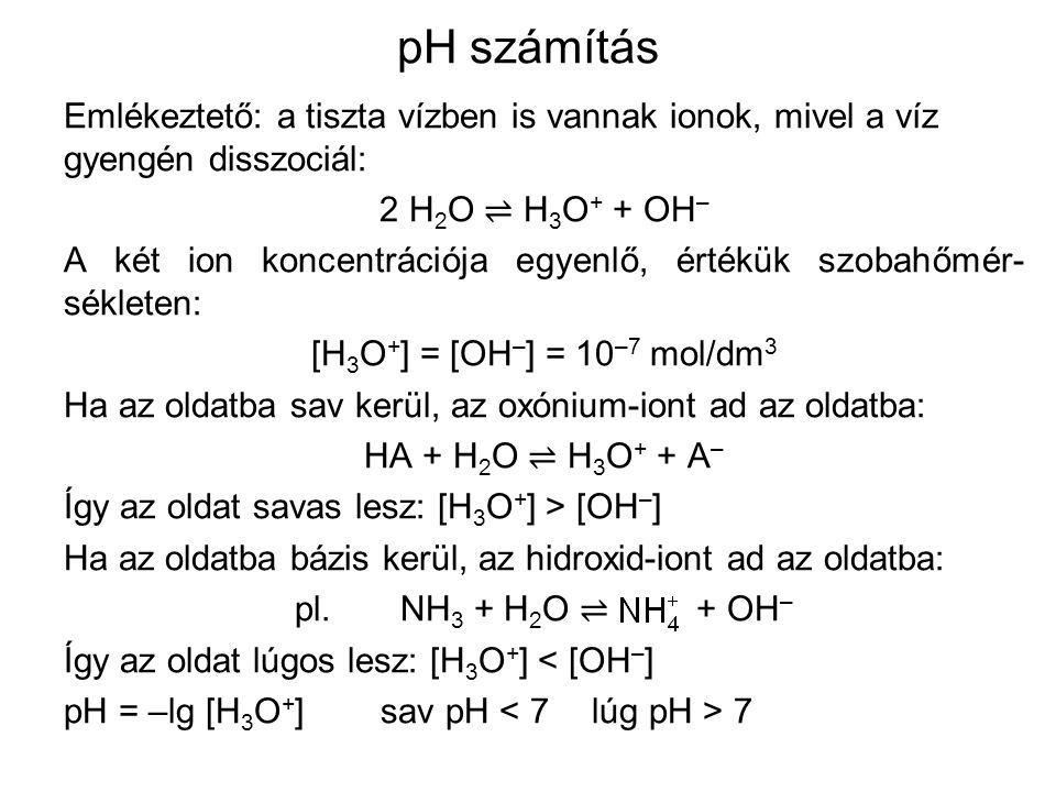 pH számítás Emlékeztető: a tiszta vízben is vannak ionok, mivel a víz gyengén disszociál: 2 H2O ⇌ H3O+ + OH–