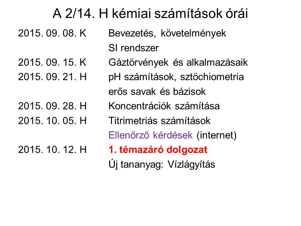A 2/14. H kémiai számítások órái
