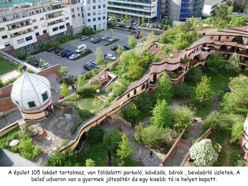 A épület 105 lakást tartalmaz, van földalatti parkoló, kávézók, bárok , bevásárló üzletek.