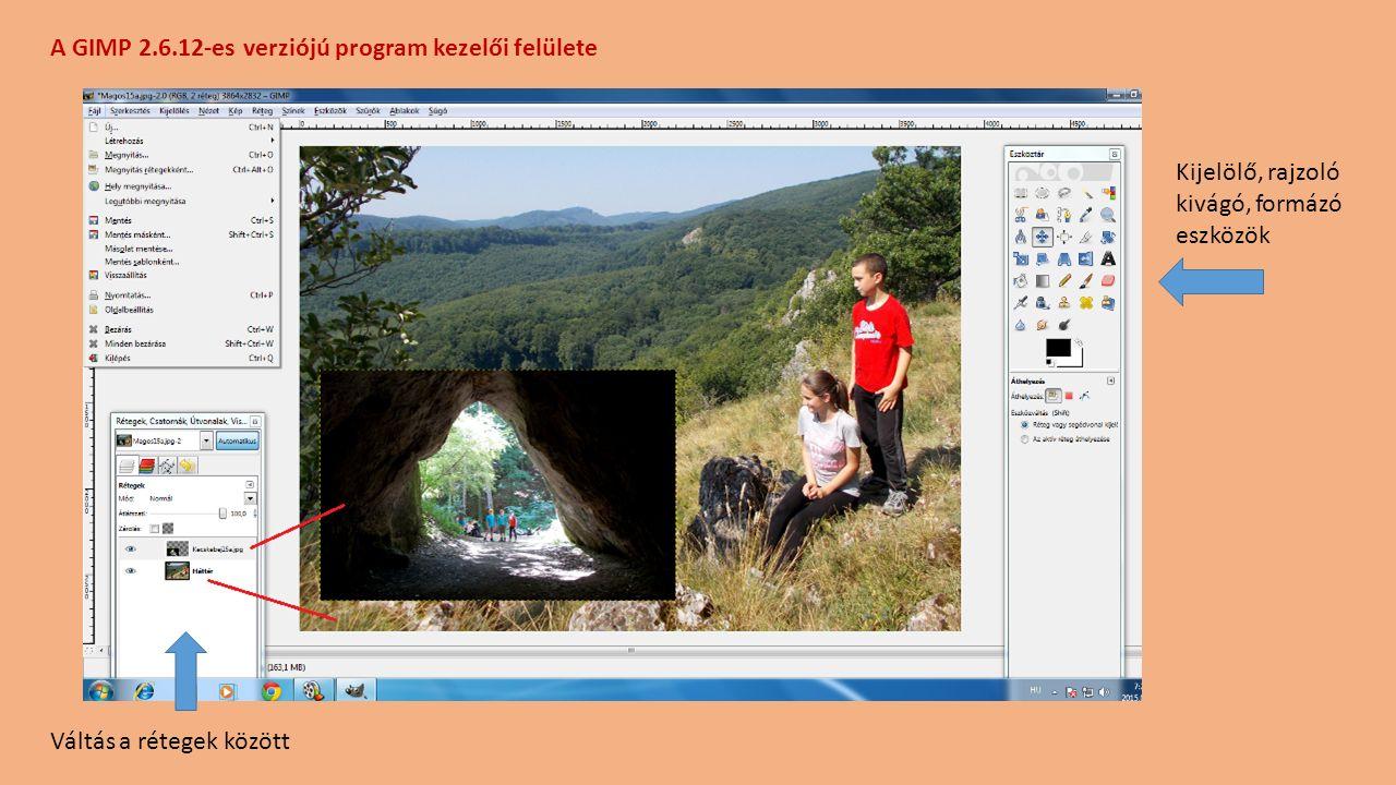 A GIMP 2.6.12-es verziójú program kezelői felülete
