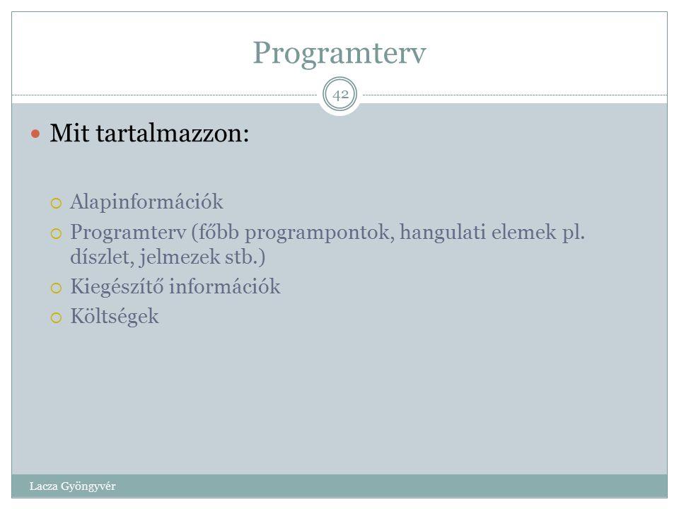 Programterv Mit tartalmazzon: Alapinformációk