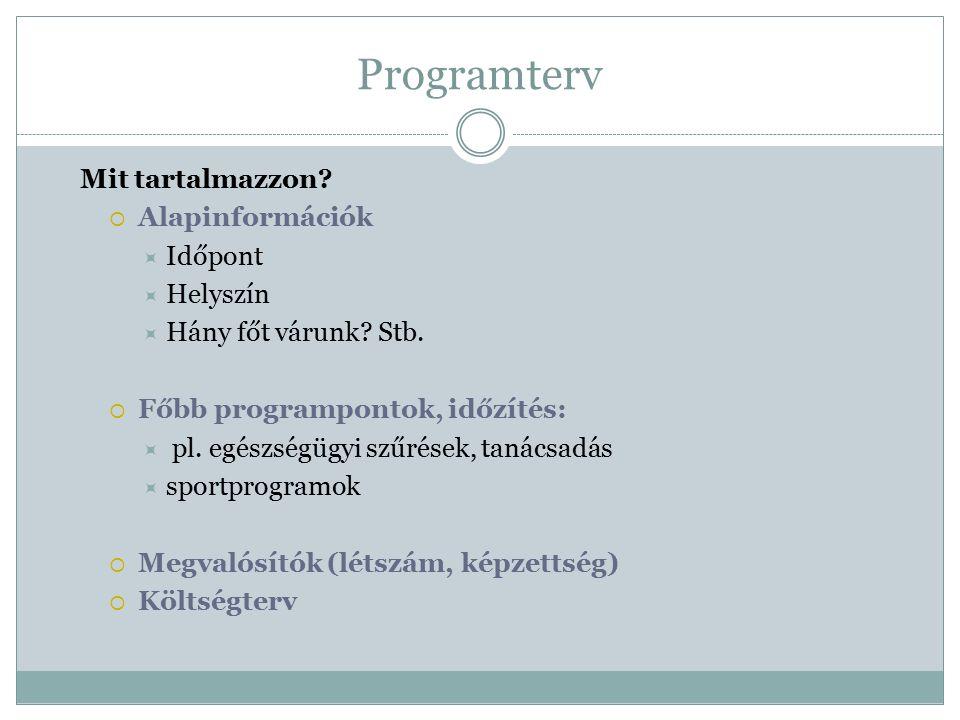 Programterv Mit tartalmazzon Alapinformációk Időpont Helyszín