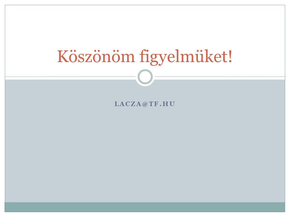 Köszönöm figyelmüket! lacza@tf.hu