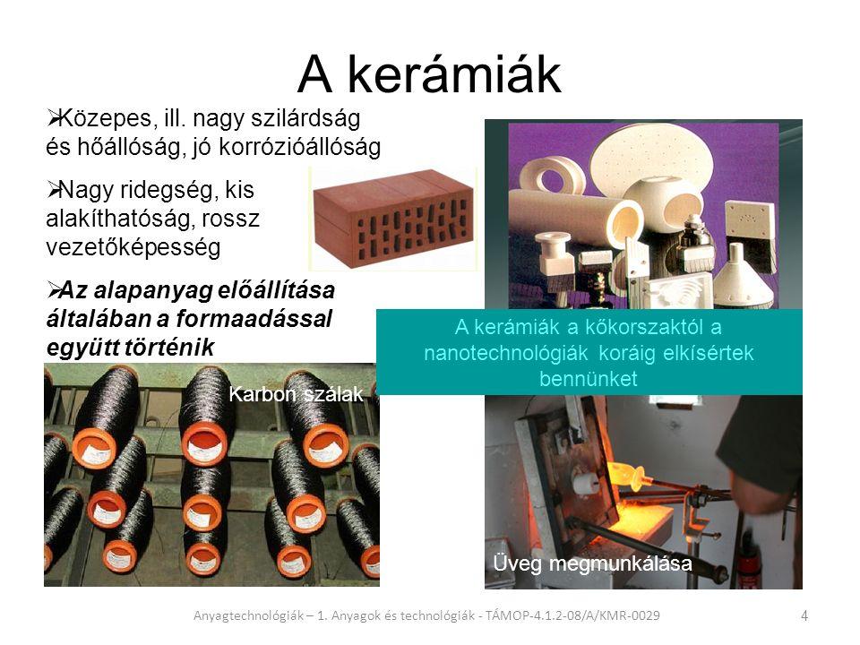 A kerámiák Műszaki kerámiák. Közepes, ill. nagy szilárdság és hőállóság, jó korrózióállóság. Nagy ridegség, kis alakíthatóság, rossz vezetőképesség.