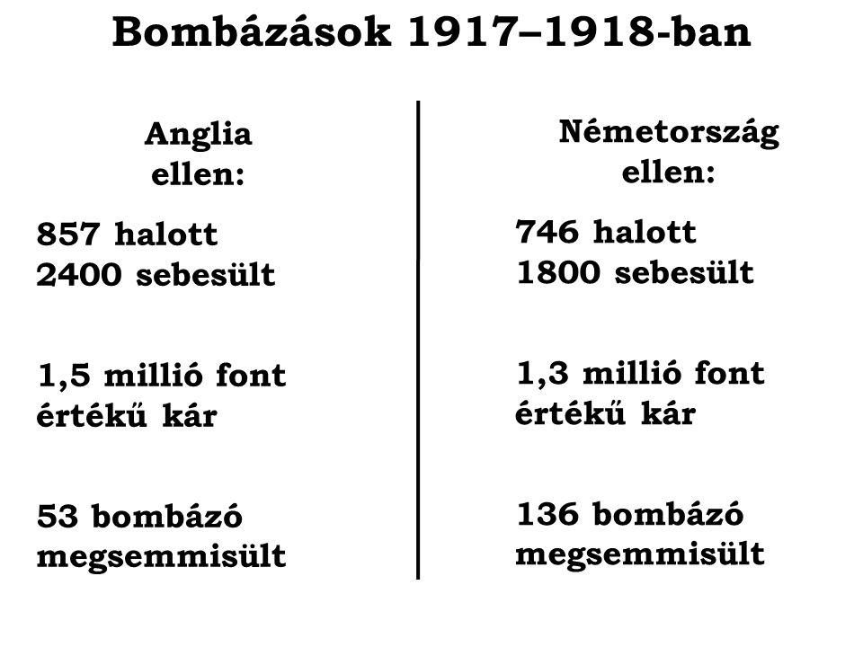 Bombázások 1917–1918-ban Anglia ellen: Németország ellen: