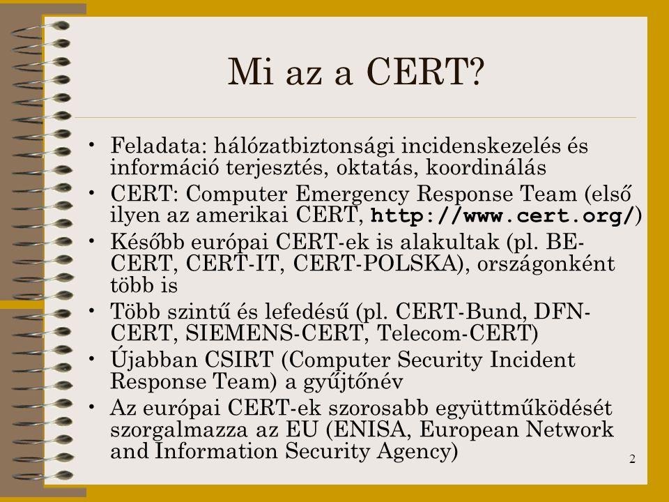 Mi az a CERT Feladata: hálózatbiztonsági incidenskezelés és információ terjesztés, oktatás, koordinálás.