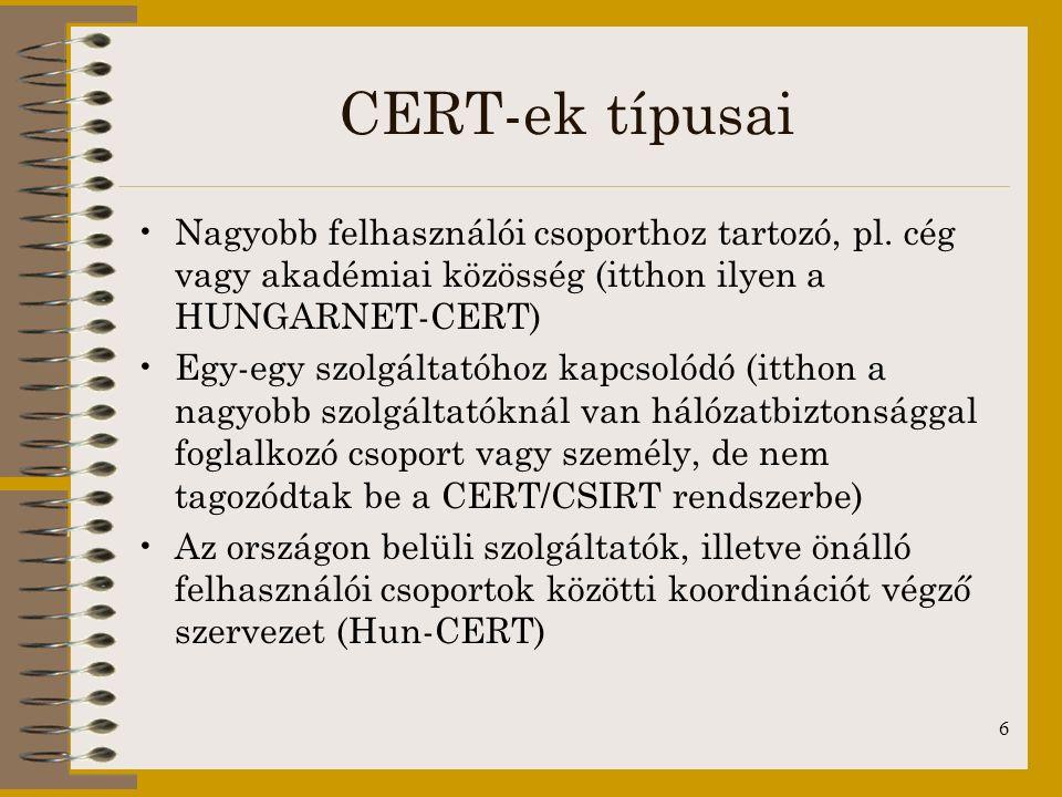 CERT-ek típusai Nagyobb felhasználói csoporthoz tartozó, pl. cég vagy akadémiai közösség (itthon ilyen a HUNGARNET-CERT)