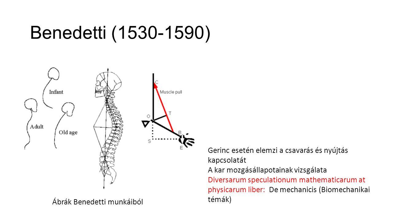 Benedetti (1530-1590) Gerinc esetén elemzi a csavarás és nyújtás kapcsolatát. A kar mozgásállapotainak vizsgálata.