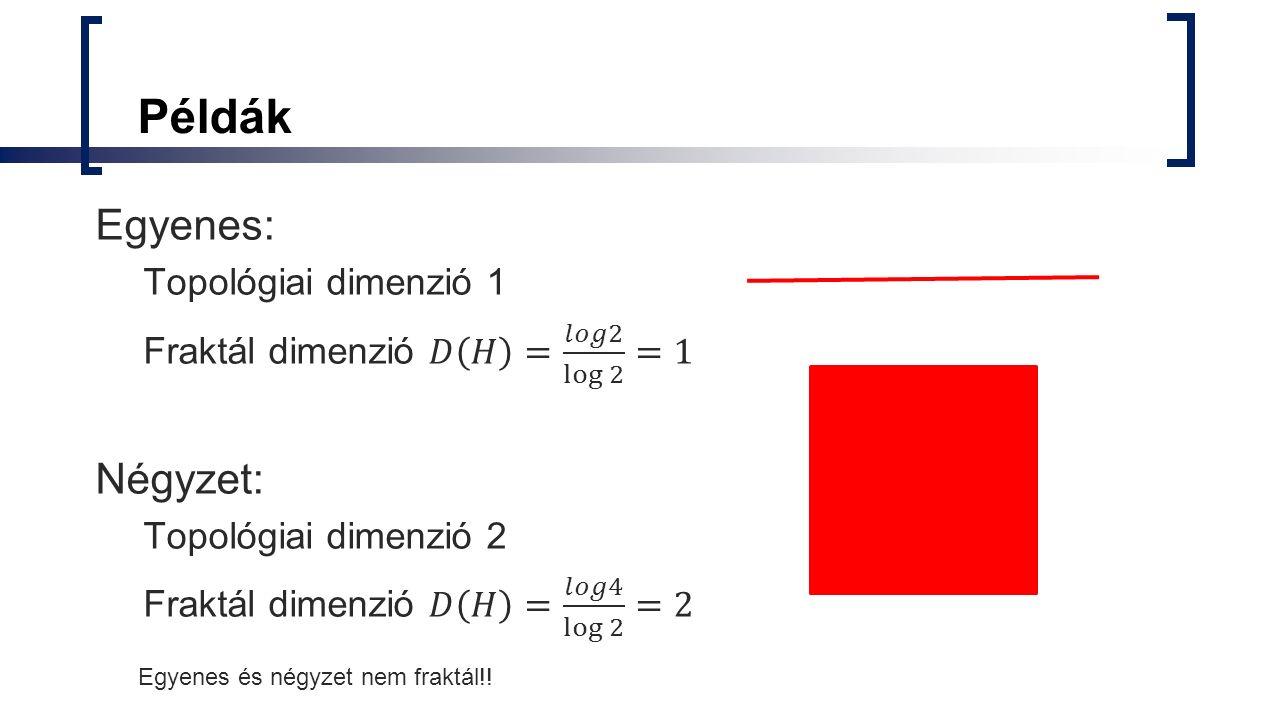 Példák Egyenes: Négyzet: Topológiai dimenzió 1