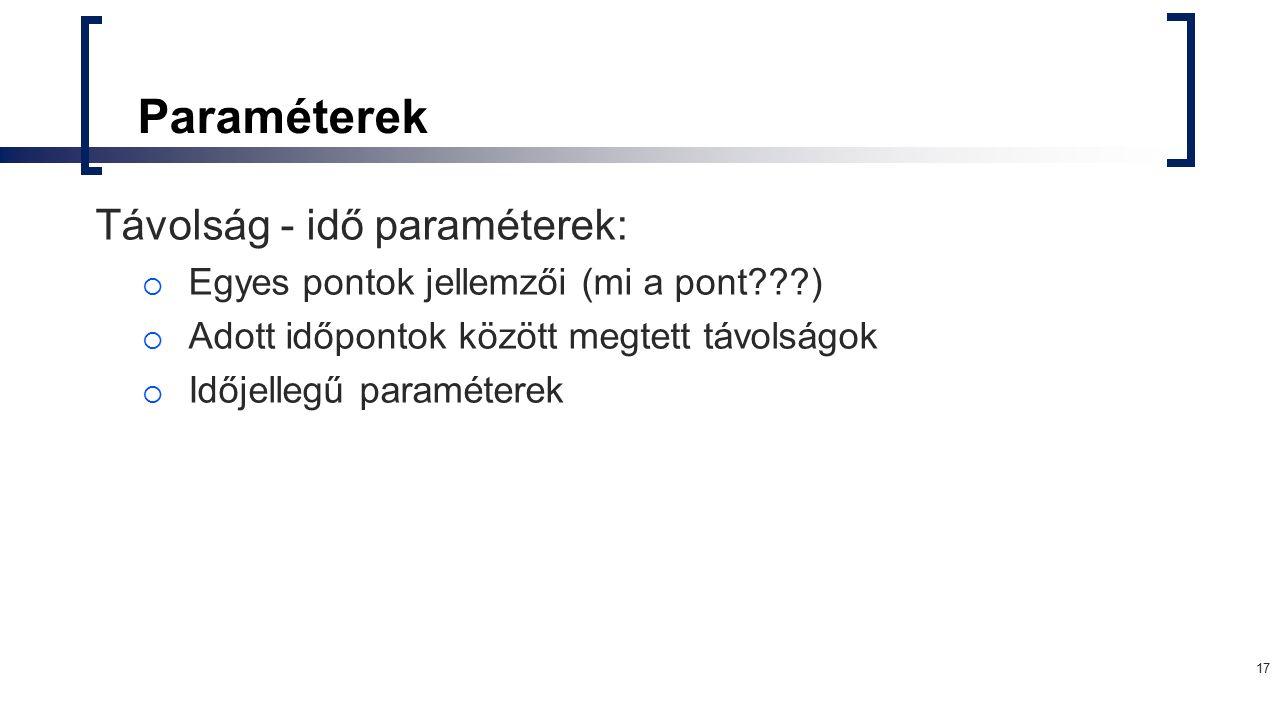 Paraméterek Távolság - idő paraméterek: