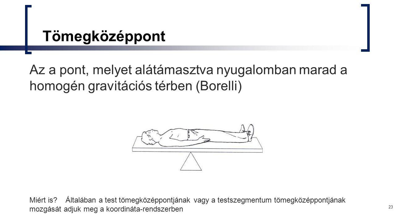 Tömegközéppont Az a pont, melyet alátámasztva nyugalomban marad a homogén gravitációs térben (Borelli)