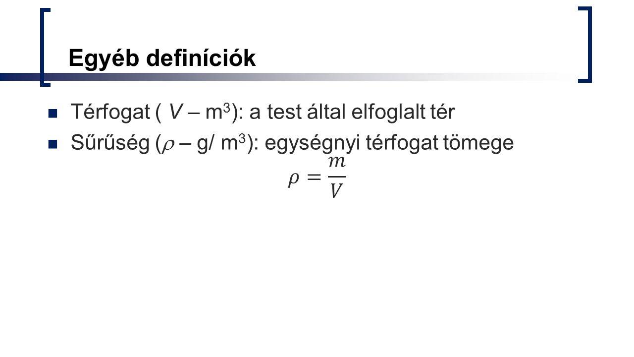 Egyéb definíciók Térfogat ( V – m3): a test által elfoglalt tér