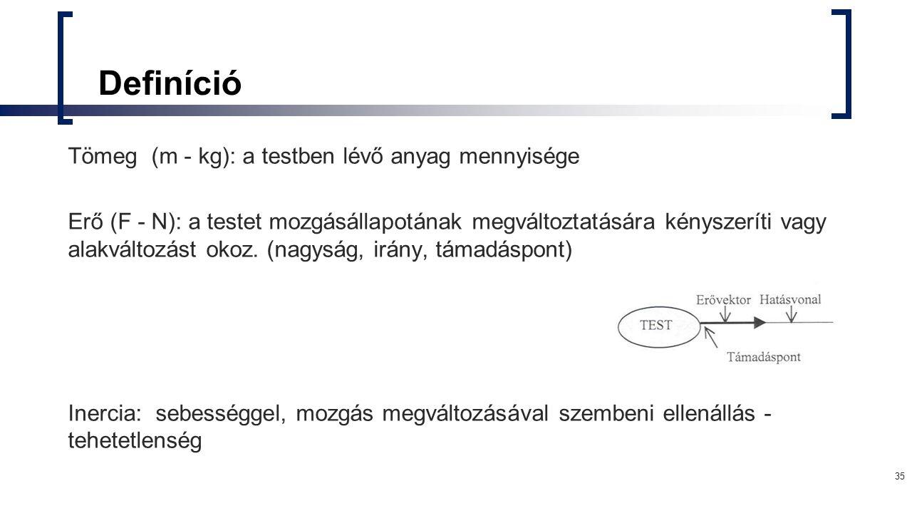 Definíció Tömeg (m - kg): a testben lévő anyag mennyisége