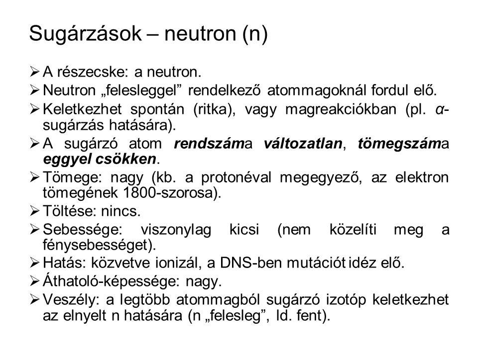 Sugárzások – neutron (n)