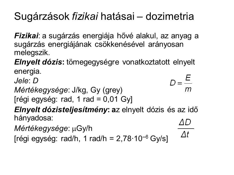 Sugárzások fizikai hatásai – dozimetria