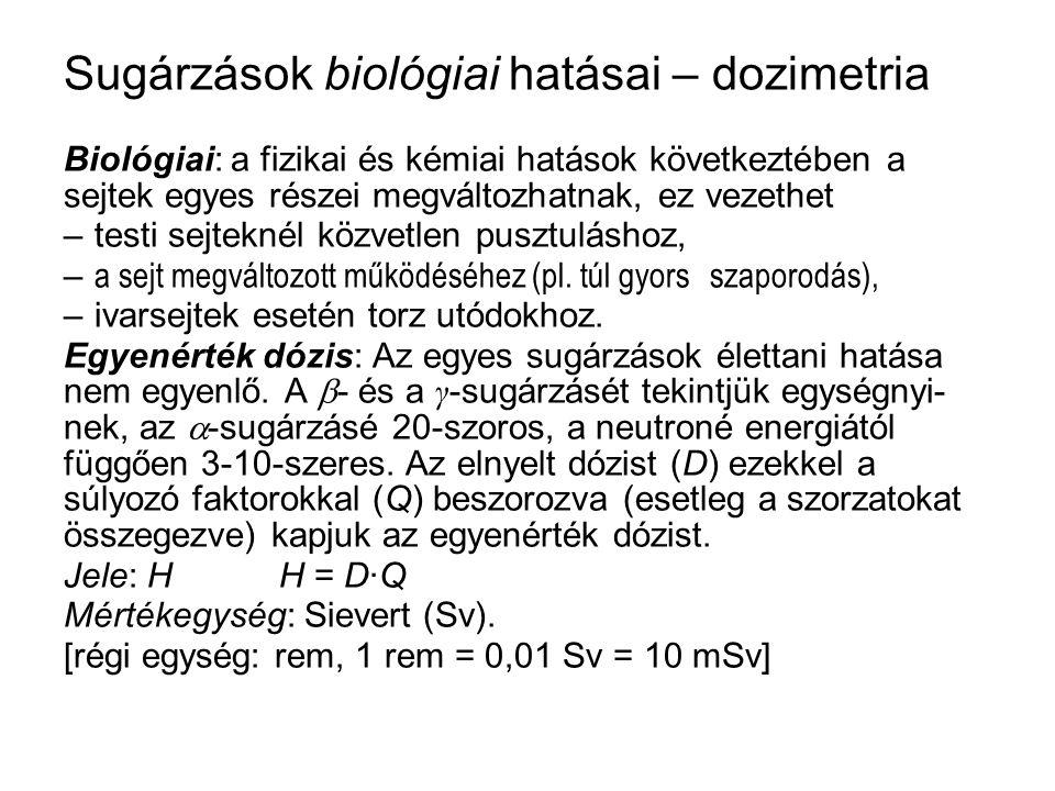 Sugárzások biológiai hatásai – dozimetria