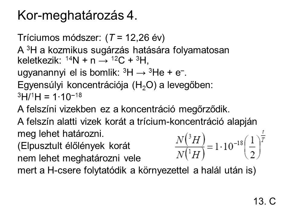 Kor-meghatározás 4. Tríciumos módszer: (T = 12,26 év)