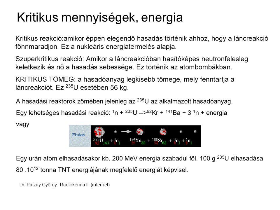 Kritikus mennyiségek, energia