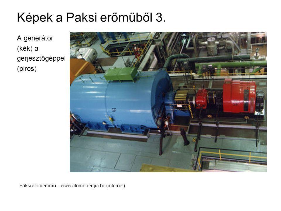Képek a Paksi erőműből 3. A generátor (kék) a gerjesztőgéppel (piros)