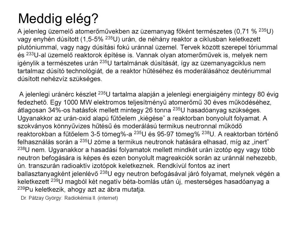 Meddig elég Dr. Pátzay György: Radiokémia II. (internet)