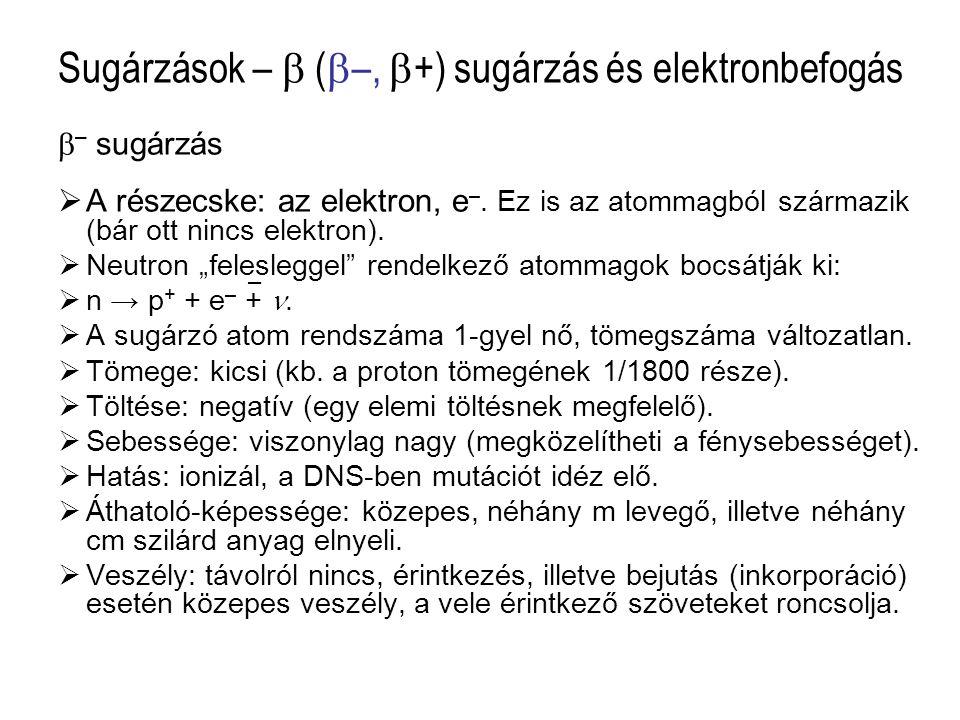Sugárzások –  (–, +) sugárzás és elektronbefogás