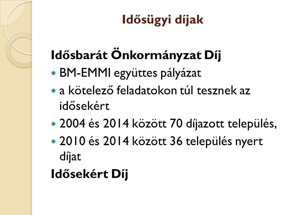 Idősügyi díjak Idősbarát Önkormányzat Díj. BM-EMMI együttes pályázat. a kötelező feladatokon túl tesznek az idősekért.