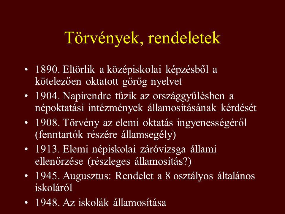 Törvények, rendeletek 1890. Eltörlik a középiskolai képzésből a kötelezően oktatott görög nyelvet.