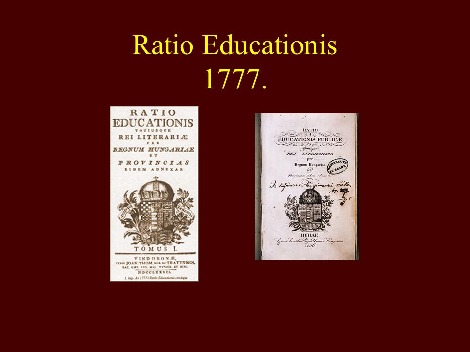 Ratio Educationis 1777.