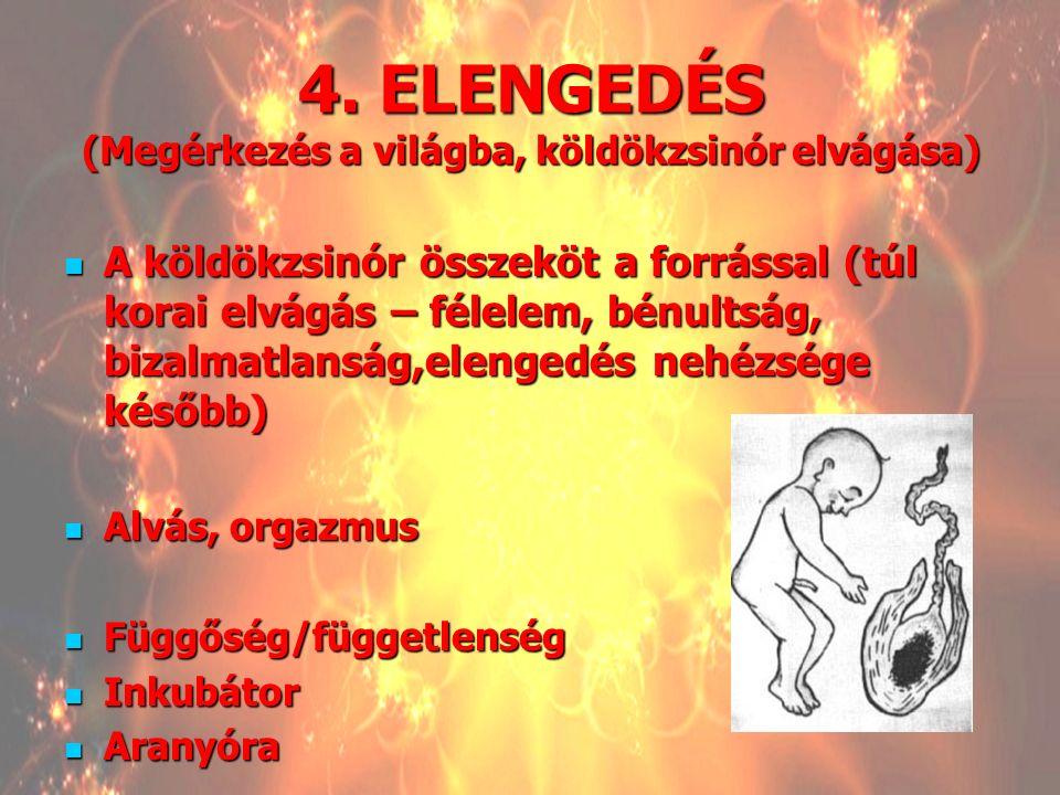 4. ELENGEDÉS (Megérkezés a világba, köldökzsinór elvágása)