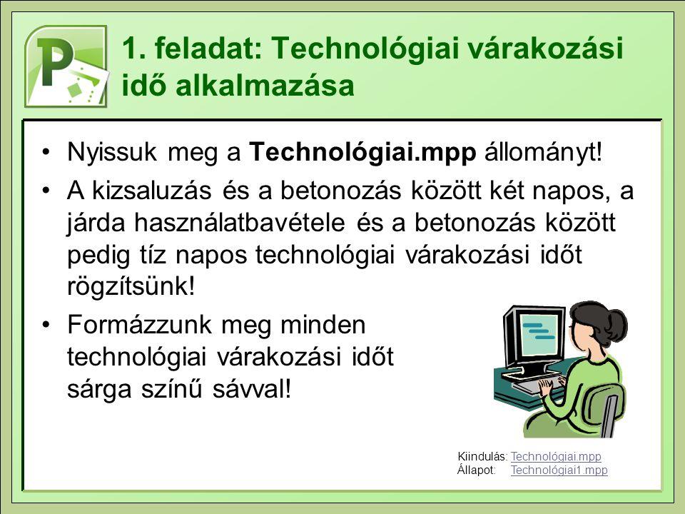 1. feladat: Technológiai várakozási idő alkalmazása