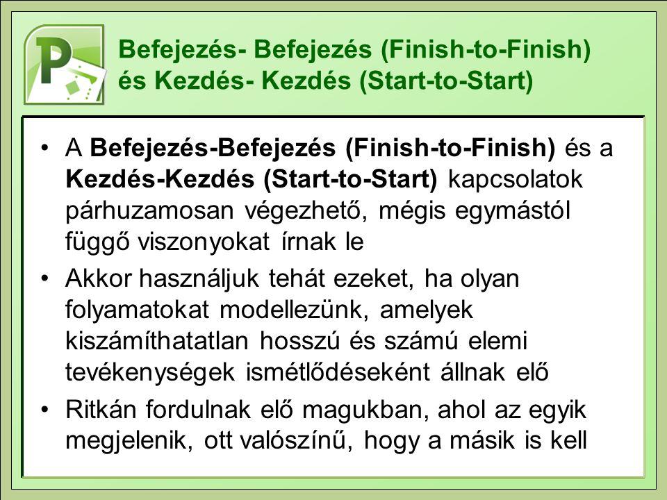 Befejezés- Befejezés (Finish-to-Finish) és Kezdés- Kezdés (Start-to-Start)