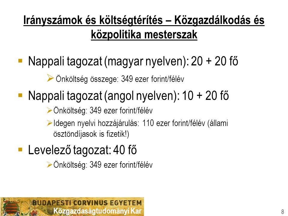 Nappali tagozat (magyar nyelven): 20 + 20 fő
