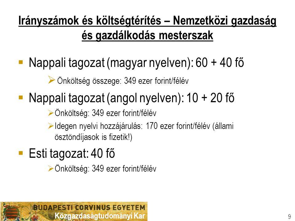Nappali tagozat (magyar nyelven): 60 + 40 fő