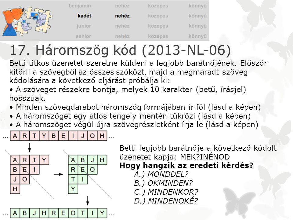 17. Háromszög kód (2013-NL-06)