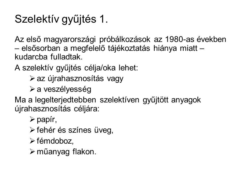 Szelektív gyűjtés 1. Az első magyarországi próbálkozások az 1980-as években – elsősorban a megfelelő tájékoztatás hiánya miatt – kudarcba fulladtak.