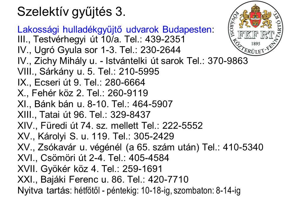 Szelektív gyűjtés 3. Lakossági hulladékgyűjtő udvarok Budapesten: III., Testvérhegyi út 10/a. Tel.: 439-2351.
