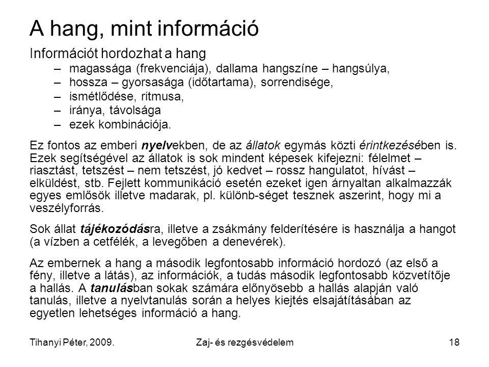 A hang, mint információ Információt hordozhat a hang