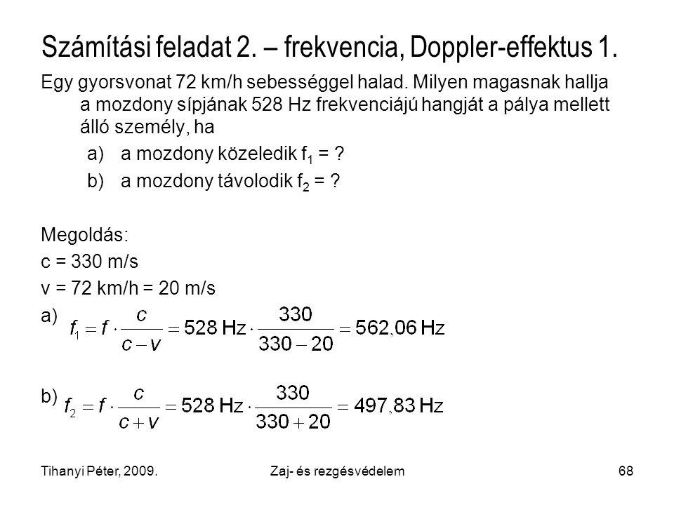 Számítási feladat 2. – frekvencia, Doppler-effektus 1.
