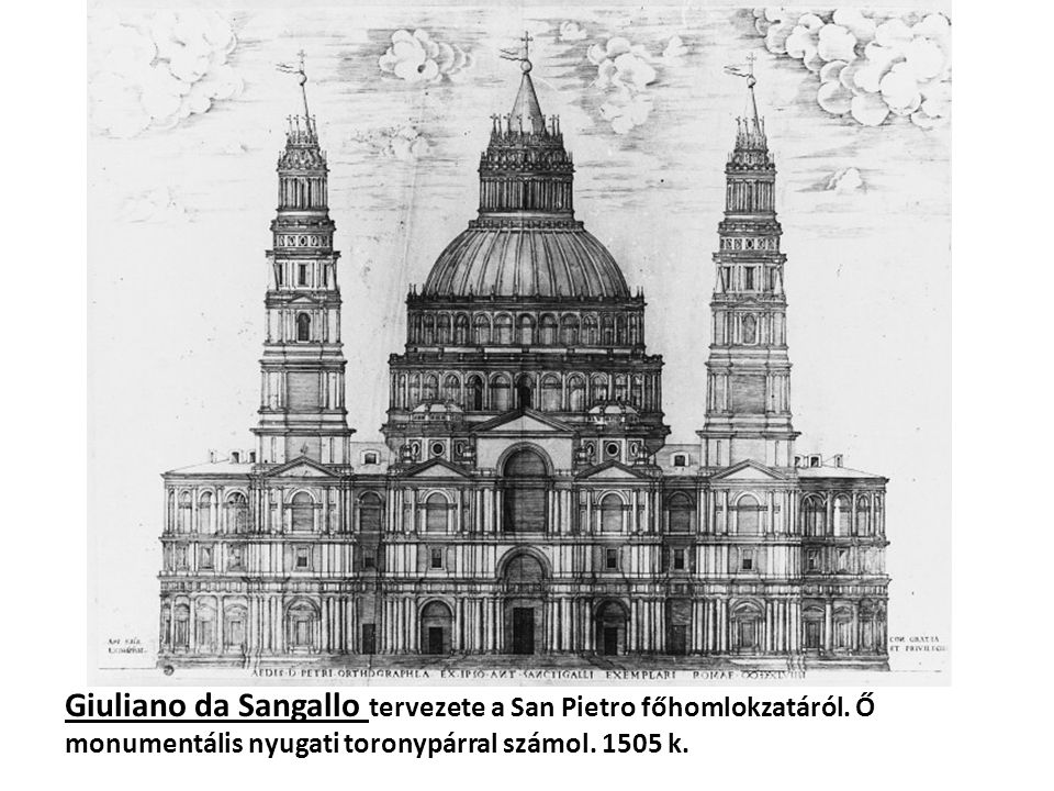 Giuliano da Sangallo tervezete a San Pietro főhomlokzatáról