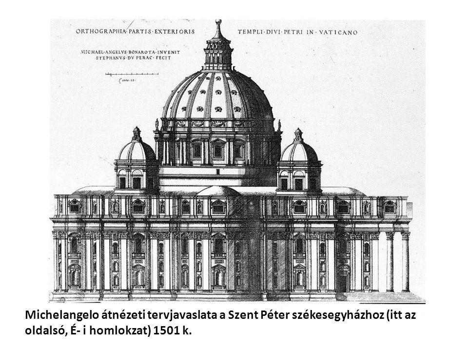 Michelangelo átnézeti tervjavaslata a Szent Péter székesegyházhoz (itt az oldalsó, É- i homlokzat) 1501 k.