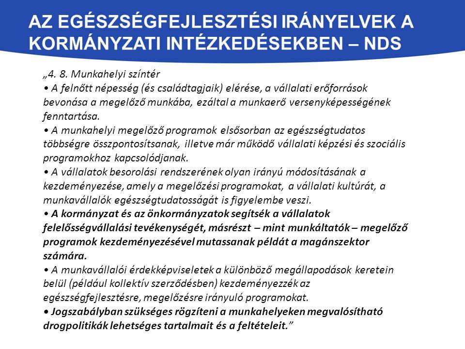 Az egészségfejlesztési irányelvek a Kormányzati intézkedésekben – NDS