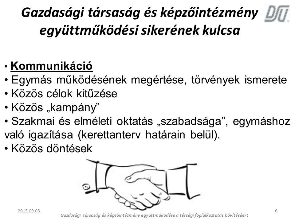 Gazdasági társaság és képzőintézmény együttműködési sikerének kulcsa