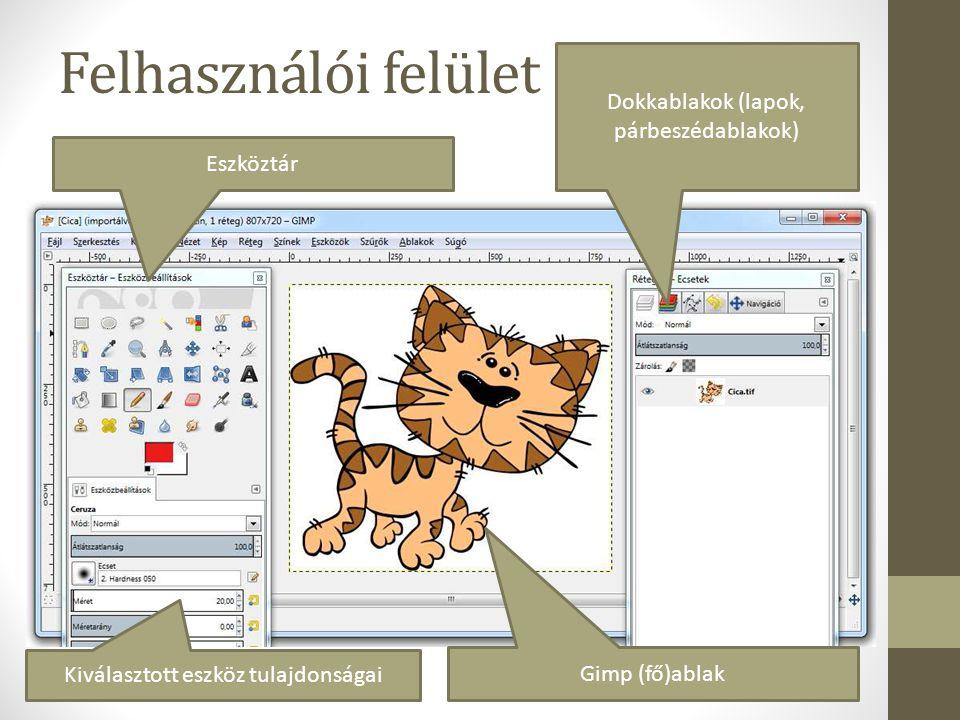 Felhasználói felület Dokkablakok (lapok, párbeszédablakok) Eszköztár