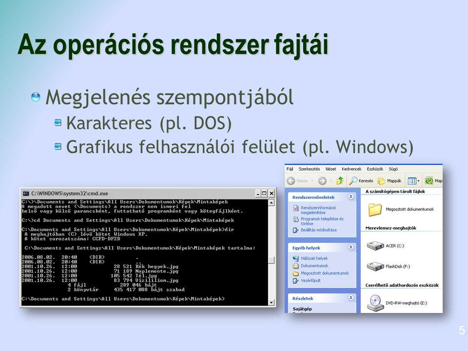 Az operációs rendszer fajtái