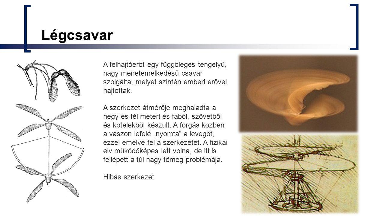 Légcsavar A felhajtóerőt egy függőleges tengelyű, nagy menetemelkedésű csavar szolgálta, melyet szintén emberi erővel hajtottak.